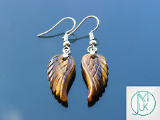 Tigers Eye Angel Wing Gemstone Earrings Natural Quartz Chakra Healing Stone