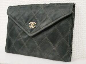CHANEL Bicolore Silk Satin Coco Mark Rhinestone Black Wallet Coin Case #4677P