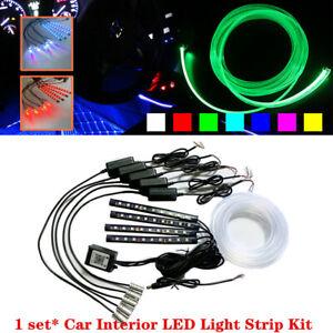 Bluetooth RGB LED Car Auto Decor Atmosphere Lights Strip Wire Lamp Optic Fiber
