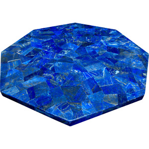 15 x 15 Inches Marble Corner Table Top Blue Coffee Table with Random Work