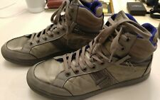 GUESS Men's Athletic High-Top Shoes Quilted Faux Zippers Silver-Grey Color USED