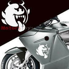 1x White Funny Tongue Ghost Devil Reflective Vinyl Motorcycle Car Sticker Decal