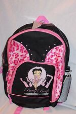 "NEW WITH TAG 2008 BETTY BOOP  FULL SIZE BLACK BACKPACK WITH WATER BOTTLE 12""X16"""