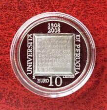 Italie - Rare Monnaie 10 Euros 2008  Proof Argent -- Univ. Perugia - 9000ex