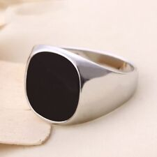 Natural Black Onyx Stone Stainless Steel Silver Gothic Sz 7-12 Women Mens Ring