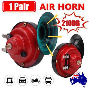 2PCS 12V Air Snail Car Horn 210DB Truck Horn for Lorry SUV RV Train Boat Loud AU