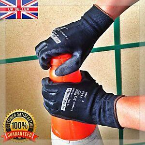 240 Pairs Nylon PU Coated Safety Work Gloves Gardening Builders Mechanic Grip