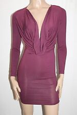 Toby Heart Ginger Designer Wine Scroll Neck Zip Back Dress Size XS BNWT #TB73