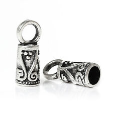 30 Cord End Caps Tips Kumihimo Ornate Pattern Antique Silver Tone 14mm J33747G