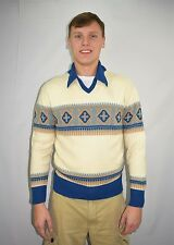Vintage 70's Men's Claude by Brentwood Preppy Disco Winter Ski Sweater Size XL