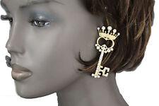 Women Fashion Earrings Set Gold Metal Key Queen Crown King Silver Beads Charm
