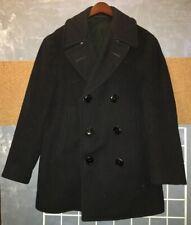Vtg wool Usn 50s black peacoat corduroy pocket sz 36