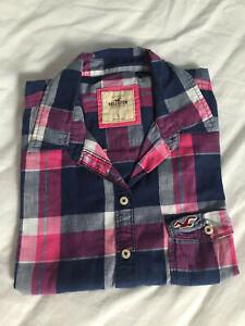 HOLLISTER Girls Navy & Pink Check Shirt - Size L