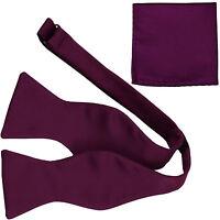 New Men's 100% Polyester Solid Formal Self-tied Bow Tie & hankie set dark purple