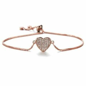Rose Gold Pave Heart Friendship Bracelet Created with Swarovski® Crystals