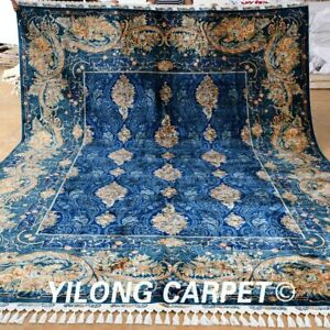 Yilong 8.6'x11.6' Blue Classic Silk Rugs Hand-knotted Home Carpets Handmade 1660