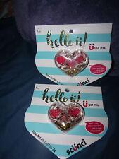 BRAND NEW (2) Scunci Hello U Glittery Heart Compact w/ 3 Pink Red Lip Gloss