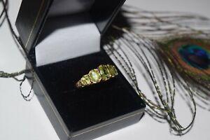 9ct Yellow Gold 5x Oval Peridot Band Ring