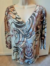 CAbi Crossover Tunic Top Floral Cotton Stretch 3/4 Sleeve #848 Size Medium ~EUC