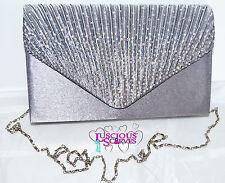 Onorevoli grigio BUSTA Style Box Bag Diamante Sera Prom RAZZE Bridal