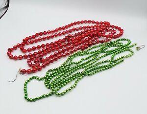 "2 VINTAGE CHRISTMAS MERCURY GLASS BEAD GARLANDS RED 98"" & GREEN 96"""