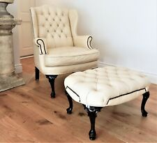 Vintage Chesterfield Leather MORAN Romsey Wingback Chair-Armchair & Ottoman