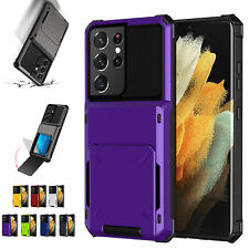 For Samsung S20 S21 Ultra S10 Plus S9 Note 10 Shockproof Hybrid Card Holder Case