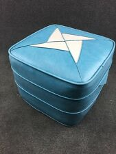 Mid Century Modern Square Hassock Ottoman Foot Stool in Turquoise Blue & White