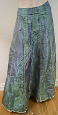 ETRO MILANO Green Velvet Trim Stripe Detail Full Long Length Maxi Skirt IT40 UK8