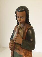 Große Alte Antike Krippenfigur Gips Handbemalt Hirte Dudelsack Hund Höhe 50cm