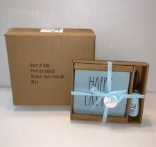 """RAE DUNN 2-Piece """"Happy Easter"""" Cheese Plate & """"Spring"""" Cheese Knife BLUE/BLACK"""