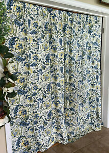 Waverly Imperial Porcelain Dress Rod Pocket Curtain Organic Floral Lined 2 Panel