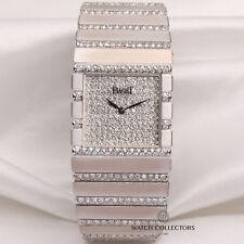 Fábrica rara Piaget 18K Oro Blanco Pulsera Diamante Pave Dial &