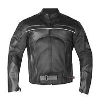 New Men's Razer Motorcycle Biker Armor Mesh & Leather Black Riding Jacket