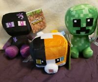 Lot of (3) Minecraft Mini Crafters Teleporting Enderman Calico Cat Pixel Creeper
