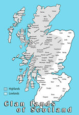 Clan lands of Scotland Map Clans Family History  Poster Print