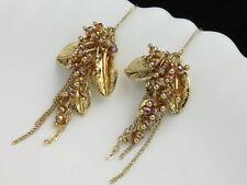 Gorgeous leaves topaz rhinestone Tassel design gold chandelier hook earrings E26