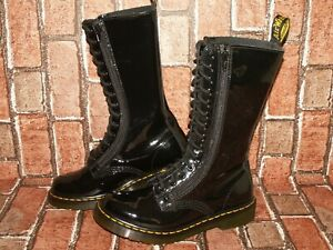 Dr. Martens 9733 14-eye double zip patent leather boots uk 5 eu 38 us 7 Doc#65