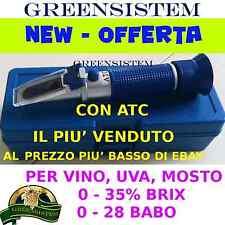 RIFRATTOMETRO 2 SCALE UVA MOSTO VINO BRIX-BABO CON ATC GREENSISTEM ENOLOGIA