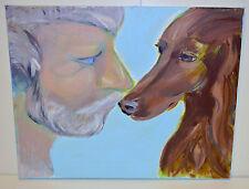 Original 'The Bond Between Man & Dog' Acrylic on Canvas Art Painting (16 x 20)