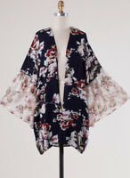 Open Front Floral Print Bell Sleeve Kimono Top Loose Flowy Boho Casual Cardigan