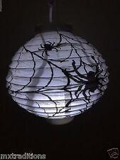 WHITE HALLOWEEN LED PAPER SPIDER HANGING LANTERN.