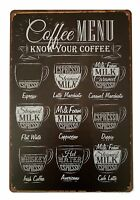 "Coffee Menu Know Your Coffee Retro Metal Sign 8"" x 12"""