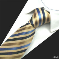 Brown Tie and Blue Stripe Pattern Handmade 100% Silk Mens Formal Wedding Necktie