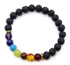 Chakra Beads Halbedelstein mehrfarbig Lava Stein Yoga Regenbogen Unisex Armband