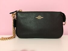 NWT Coach Large Wristlet 19 in Refined Pebble Leather, F30258, Black / Lt. Gold