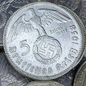 Rare Third Reich WW2 German 5 Reichsmark Hindenburg Silver Coin