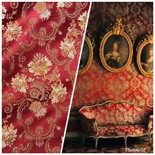 NEW Designer Brocade Jacquard Fabric- Roses Floral- Upholstery- Red LLPBR0001