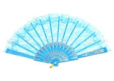 Chinese Japanese Foldable Lace Trim Hand Fan 8 Colors Floral Print U.S. Seller