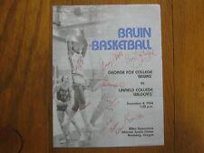 1984  GEORGE FOX  College Bruins Men's Basketball Program(9 Signers(LARRY  JURY)